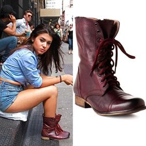 Steve Madden Troopa 2.0 Wine Red Leather Boots